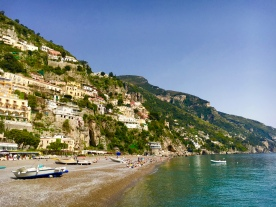 View at a beach in Positano, Amalfi Coast