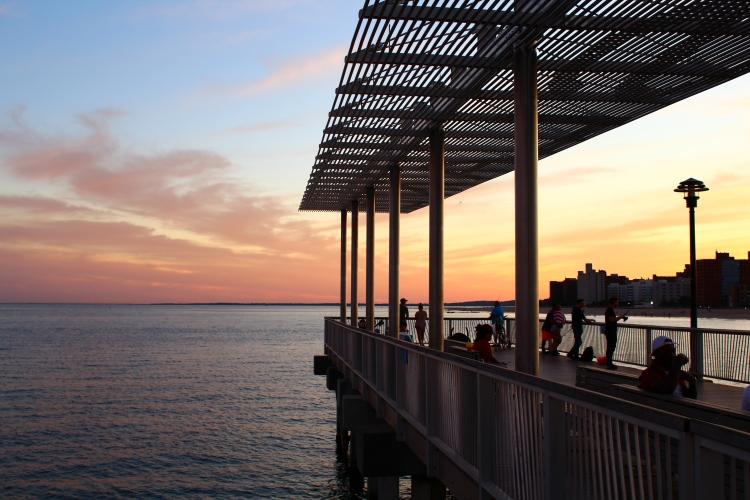 Sun setting at Coney Island pier